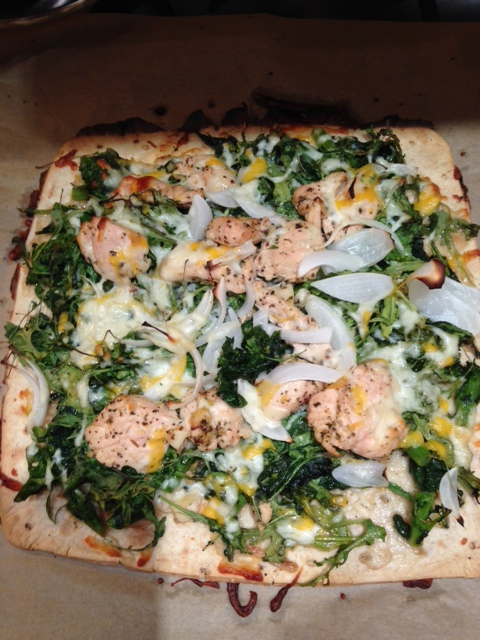 broccoli rabe, arugula, chicken, lemon pizza