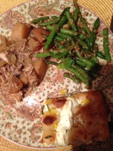 Italian pork roast with green beans and focaccia