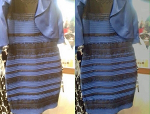 white and gold dress black and blue dress